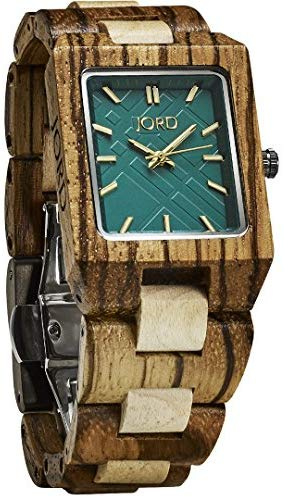 JORD Wooden Wrist Watches for Men or Women - Reece Series / Wood Watch Band / Wood Bezel / Analog Quartz Movement - Includes Wood Watch Box (Zebrawood & Emerald)