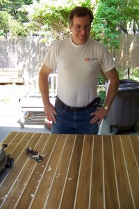 Alan Chenkin Fabricating Teak Countertop for Custom Kitchen.