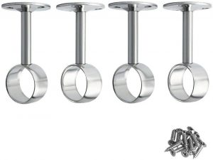 Stainless Steel Wardrobe Pipe Lever Ceiling Mount Bracket Closet Rod Bracket Flange Support Holder Pack of 4 (25mm/1'')